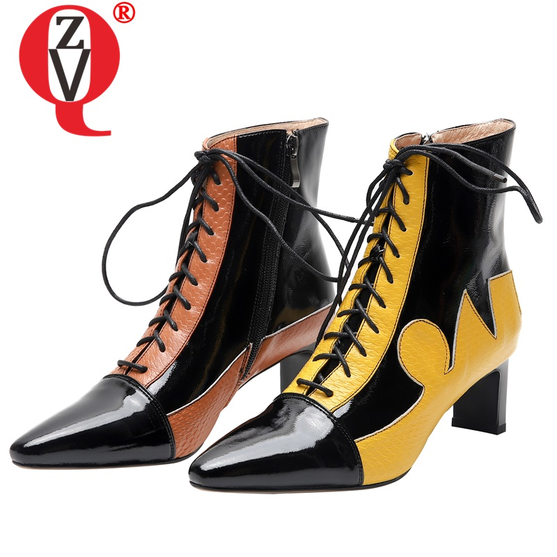 ZVQ punk chelsea boots leather yellow orange women's shoes pointed toe fashion floral print autumn 5.5cm mid heels ankle boots