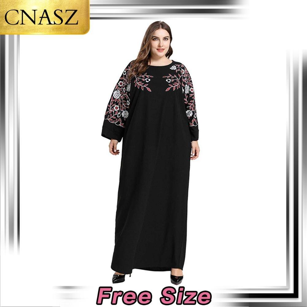 Fashion Middle East Arab Large Size Women's Islamic Turkey Embroidered Long Sleeve Large Swing Muslim Casual Dress Dubai Kimono