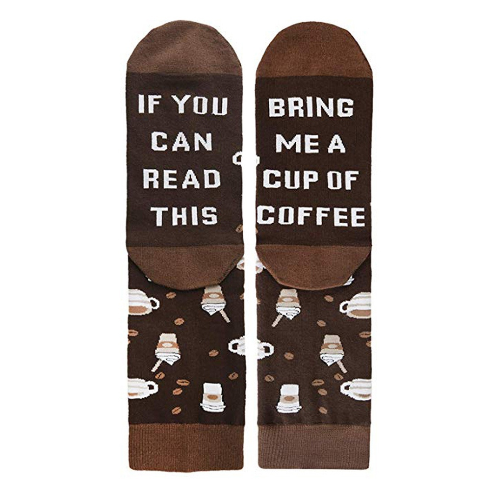 """1 Pair Funny Couple Socks English Words \""""If You Can Read This Bring Me Coffee\"""" Printed Women Men Valentine Socks NM"""