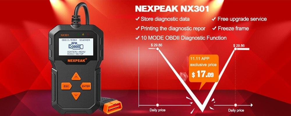 Car Code Scanner Engine Check OBD2 Diagnostic Tool NEXPEAK NX301