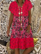40 # elegante vestidos tamanhos grandes mulheres verão floral impressão vintage vestido com decote em v manga curta mini vestido vestidos longos de verao
