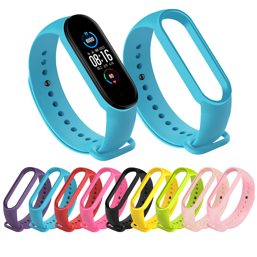 Strap For Xiaomi Mi Band 5 4 3 Silicone Pink Replacement Wristband Bracelet Watchband For Xiomi Mi Band3 Miband 4 3 Band4 Strap(China)