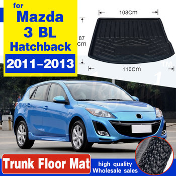 Car Rear Trunk Mat Cargo Tray Boot Liner Carpet Protector Floor Pad Mats Fit For Mazda 3 Mazda3 Hatchback 2010 2011 2012 2013 BL image