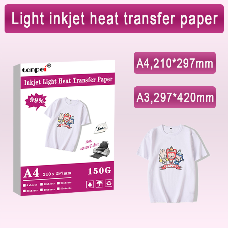A3 A4 Iron On T Shirt Heat Transfer Paper For Light Color 100% Cotton Fabrics Cloth Inkjet Printing Design For DIY Gifts