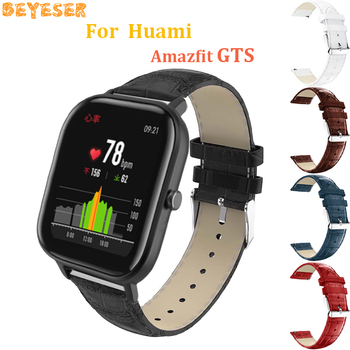 For Huami Amazfit GTS GTR 42mm leather wrist strap 20mm replacement For Samsung Galaxy watch active Gear s2/sport watch band 20mm strap for samsung galaxy watch active galaxy watch 42mm gear s2 band stainless steel replacement crystal women wristband