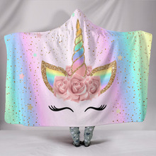 New 3D Cartoon Unicorn Hooded Warm Blanket Cloak Gift for Kids Wearable Flower Travel Aircraft Train Cover Christmas
