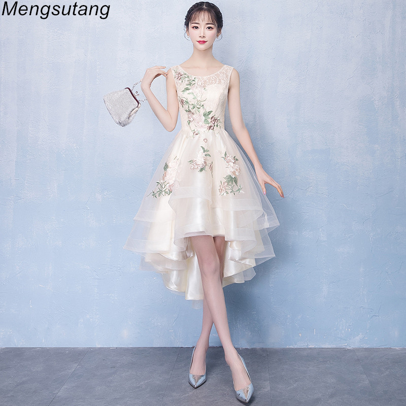 Robe De Soiree Short Front Long Back Champagne Tulle With Appliques Evening Dress Charming Sleeveless O Neck Formal Party Dress
