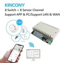 Kincony interruptor de luz de Control remoto de 8 canales, 8 entradas para módulos de automatización de domótica, comunicación RJ45/RS232