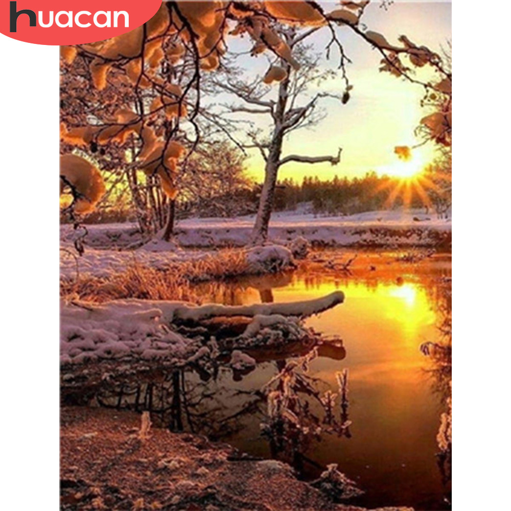 HUACAN DIY Oil Painting Snow Tree Scenery Pictures By Numbers Winter Landscape Kits Drawing Canvas HandPainted Home Decoration