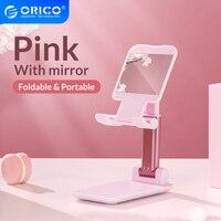 ORICO-Soporte de escritorio plegable con espejo para teléfono móvil, accesorios ajustables para Xiaomi 11, iPhone, iPad, color rosa