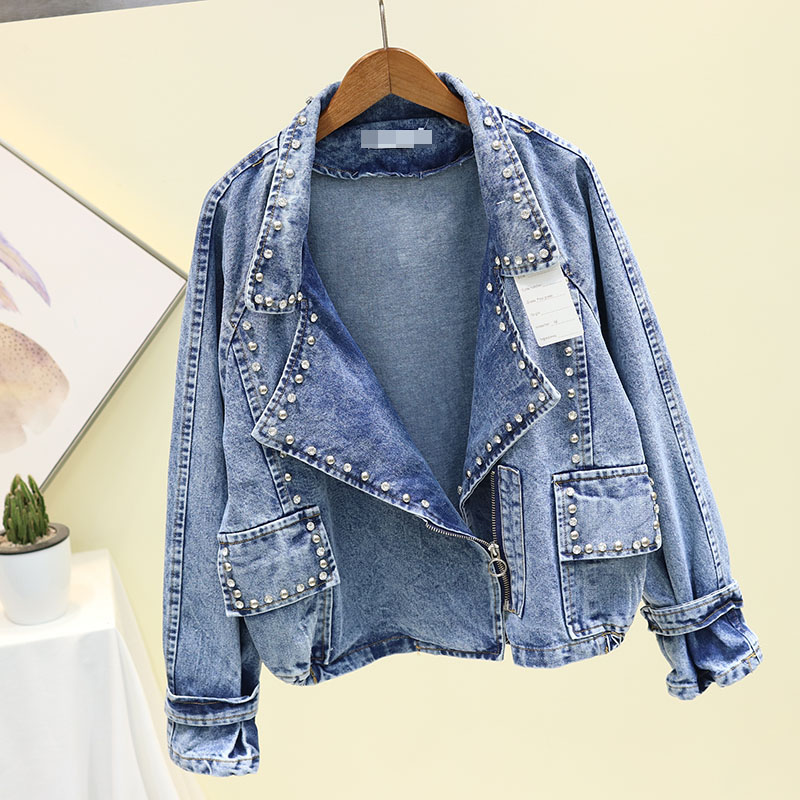 2020 New Autumn Heavy Industry Rivets Drill Suit Collar Jeans Jacket Womens Loose Short Casual Cowboy Coat Woman Denim Jackets