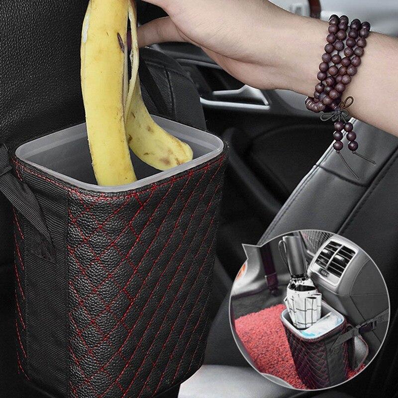 Многофункциональные автомобильные мусорные корзины из искусственной кожи на спинку сиденья, держатель для мусора и пыли, чехлы для мусора