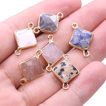 Bracelet-Accessory Charms Jewelry-Making Connector Square-Pendant Diy Necklace for Natural-Stone