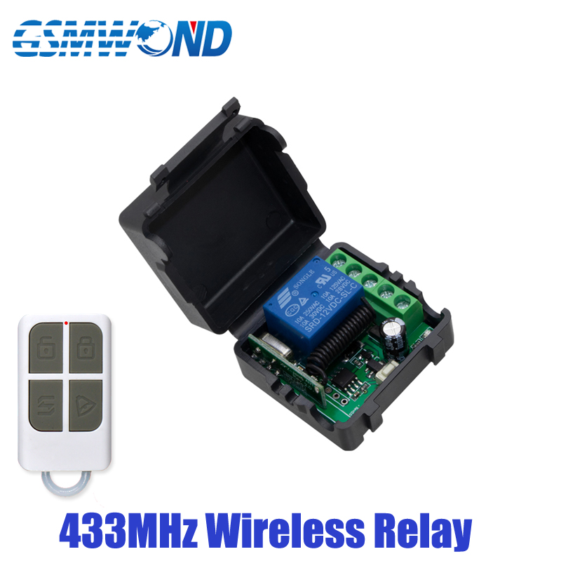 433MHz Wireless Relay DC 12V Single Channel Relay Module RF Wireless Switch Receiver + Remote Control Transmitter DIY Kit