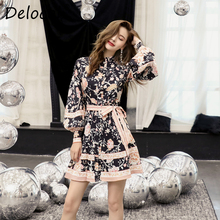 Delocah Runway Fashion Summer A Line Mini Dress Women's Puff Sleeve Floral Printed Bow Tie Elegant Vintage Ladies Party Dresses pinstripe bow tie puff sleeve dress