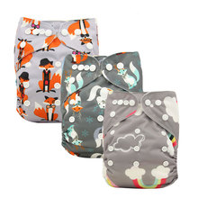 Adjustable Washable Diapers Baby Nappies Fox Animal Print Training Pants Waterproof Pocket Cloth Diaper Shower Gifts