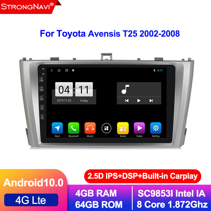 DSP IPS 4G 64G 8CORE <font><b>Android</b></font> 10.0 Car navigation GPS stereo For <font><b>Toyota</b></font> Avensis <font><b>T25</b></font> 2002-2008 audio radio no dvd player 4G lte image