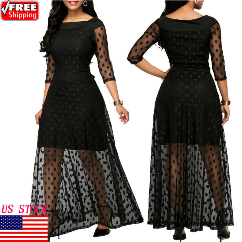 Women See Through Dots Printed O Neck Elegant Lace Long Dress Sexy Maxi Autumn Winter Evening Party Dresses Vestidos Plus Size