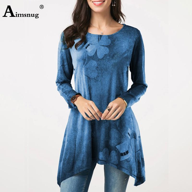 Plus Size 5XL Spring And Autumn 2020 Female Tee Tops Print Clover Irregular Long Sleeve O-neck Casual Loose Hem Women's T-shirt