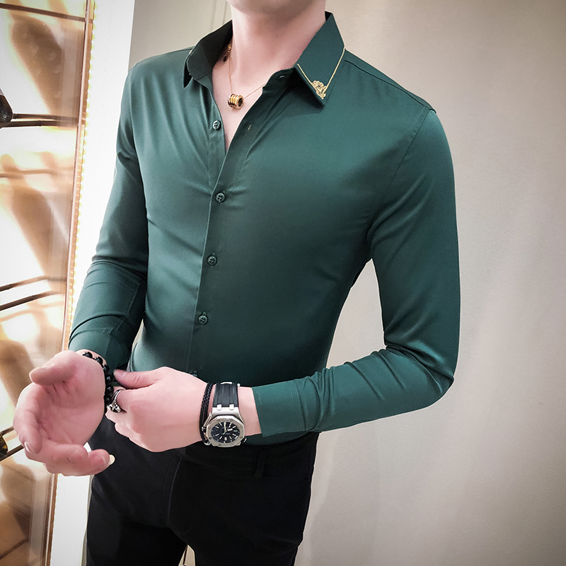 2020 Neckline Embroidery Men Shirt Long Sleeve Slim Fit Dress Shirts 6 Color Casual Streetwear Formal Social Shirt Chemise Homme