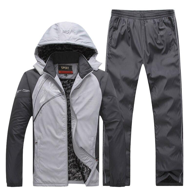 Men's Sportswear Set Casual Winter Suit Fashion Print Tracksuit Men Two Piece Suit With Hood 2PC Fleece Thick Warm Jacket + Pant