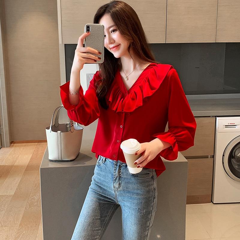 Korean Fashion Chiffon Women Blouses Ruffled Flare Sleeve Womens Tops and Blouses Plus Size XXL Blusas Femininas Elegante in Blouses amp Shirts from Women 39 s Clothing
