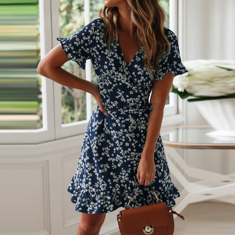 Women Dresses Summer 2020 Sexy V Neck Floral Print Boho Beach Dress Ruffle Short Sleeve A Line Mini Dress Wrap Sundress Robe