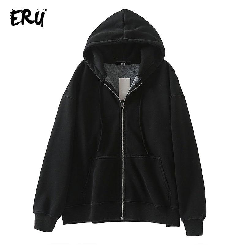 ERU Black Casual Zip Up Sweatshirt Women Winter 2019 Long Sleeve Oversized Hoodies Streetwear Cotton Loose Sweatshirts Mujer