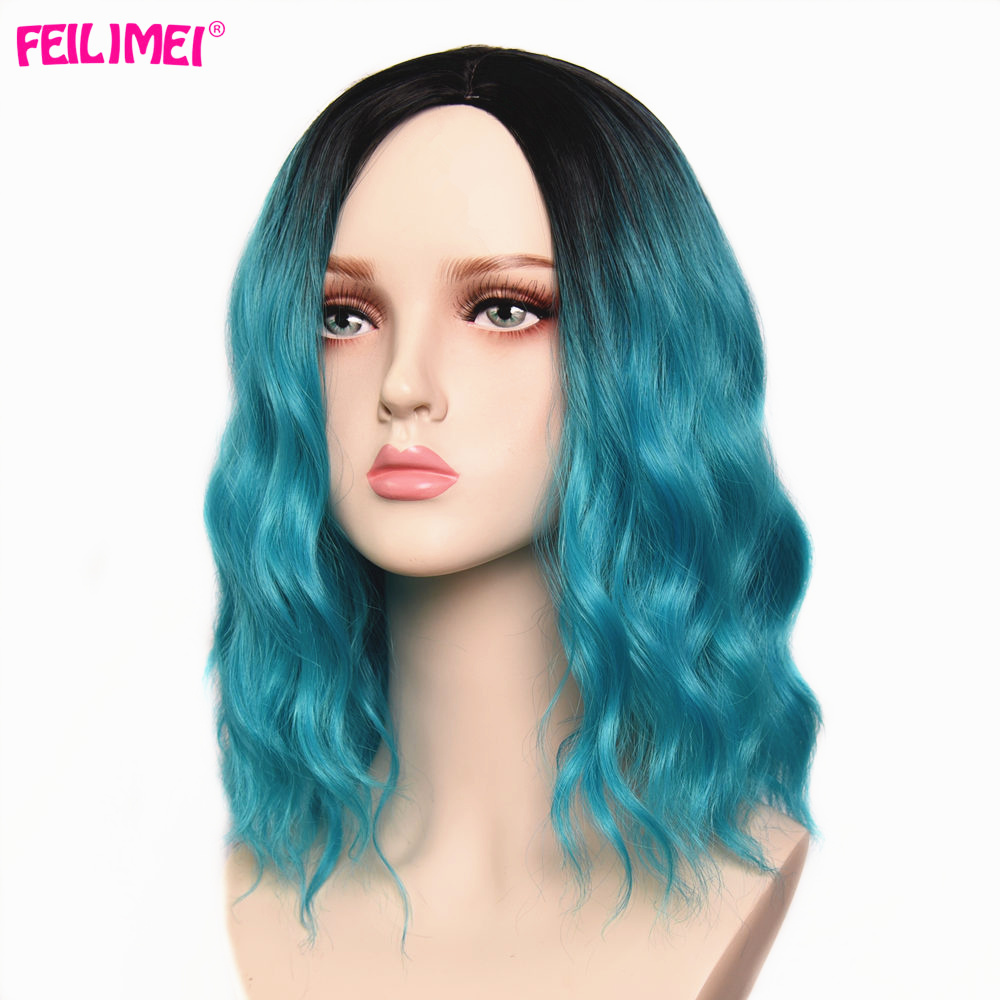 Feilimei Ombre Blue Pink Red Wig Synthetic Long Wave Femal Cosplay Wigs 14 Inch Short Black Hair Extensiones For Women