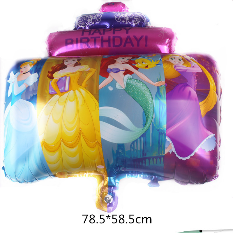 Cartoon Hat Birthday Party Decorations Kids Foil Balloons Princess Three Layers Cake Party Supplies  Hat
