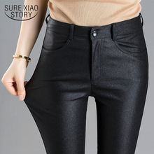 2021 Spring Autumn Winter Warm Women Pants Female PU Leather Frosted Trousers Elastic Skinny Pencil Pants Women's Skinny Pants
