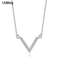 925 Sterling Silver AAA Crystal Zircon Big Letter V Shape Pendant Necklaces Women Jewelry