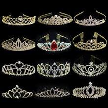 Tiaras e coroas de noiva, tiara de princesa e cristal dourado para noivas, acessórios de moda para cabelo