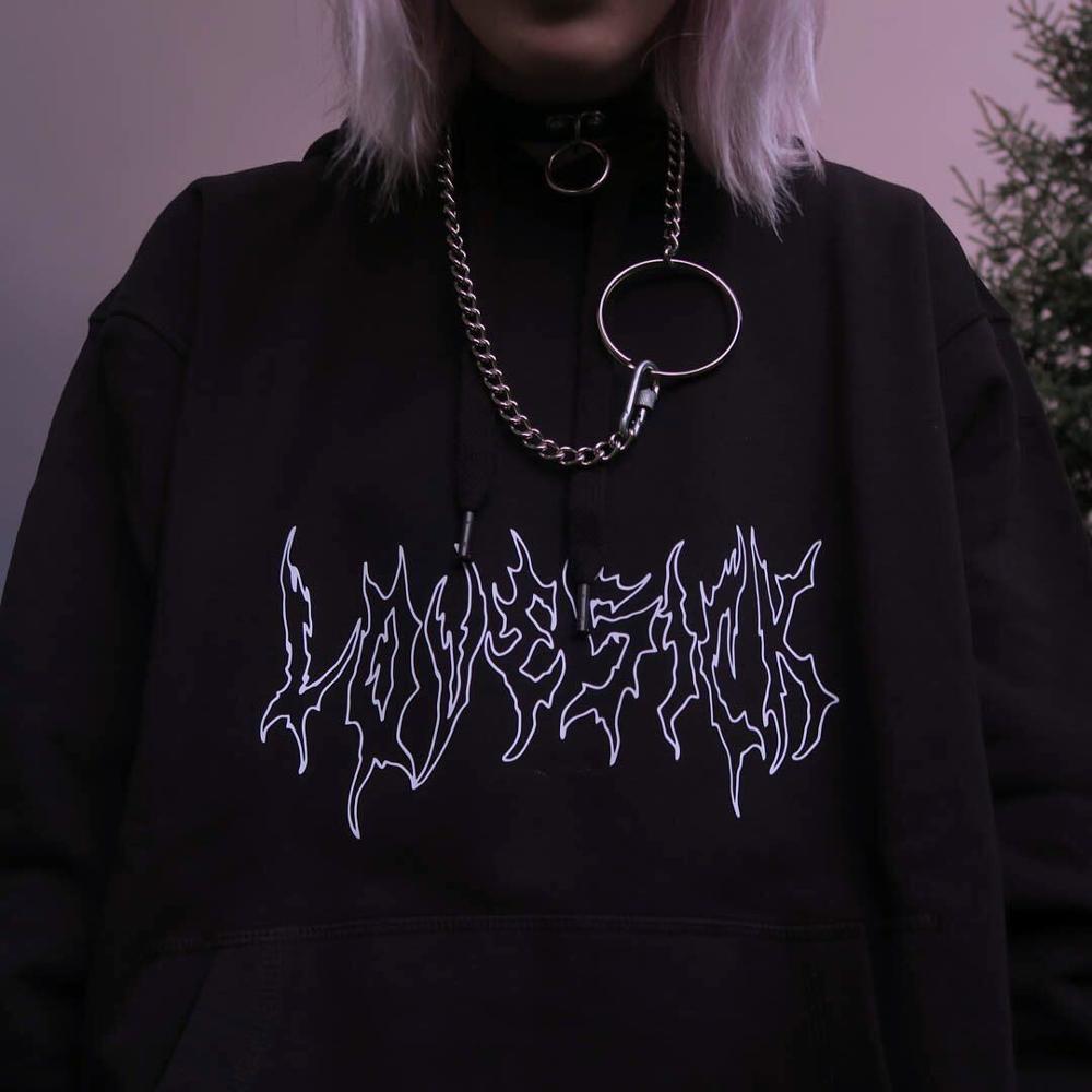 Женская свободная уличная одежда, Черный свитшот, вязаные толстовки, пуловер в готическом стиле и стиле панк с принтом, модный длинный женск...
