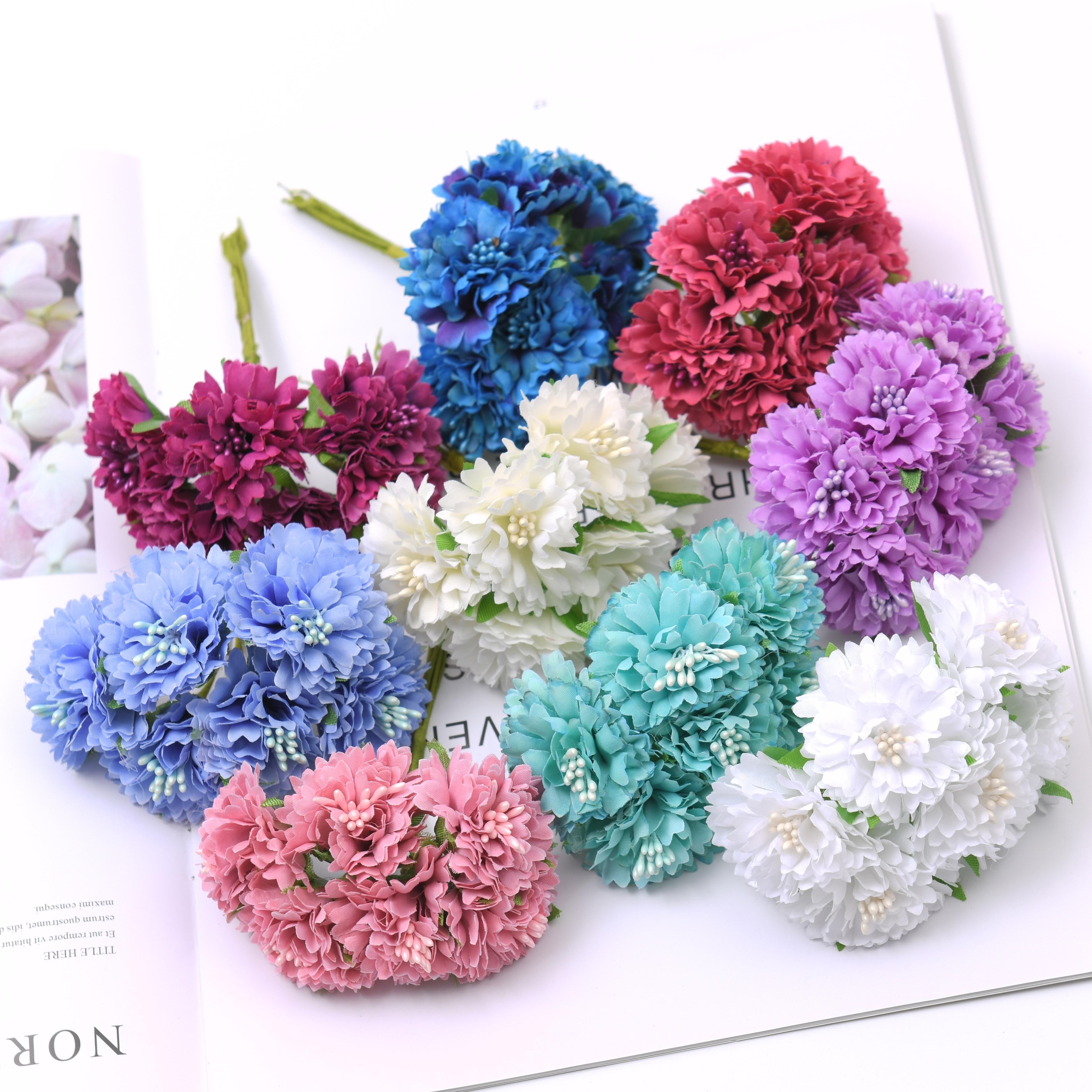 6pcs/Lot mini Carnation Bouquet Silk Artificial Flowers DIY Handmade Wreath Scrapbook Wedding Decoration Craft Fake Flower