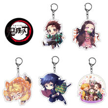 5pcs/lot Demon Slayer : Kimetsu No Yaiba double-sided Acrylic Keychain cartoon figure Cosplay Anime Pendant Keyring(China)