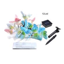 12Led Fiber Butterfly Shape Solar Light String Christmas Day Garden Decoration Lamp Professional Fashion(China)
