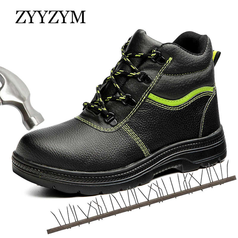 ZYYZYM Steel Toe Boots Men Safety Work Boots Winter Plush Keep Warm Men Work Safety Shoes Anti-piercing Protection Footwear