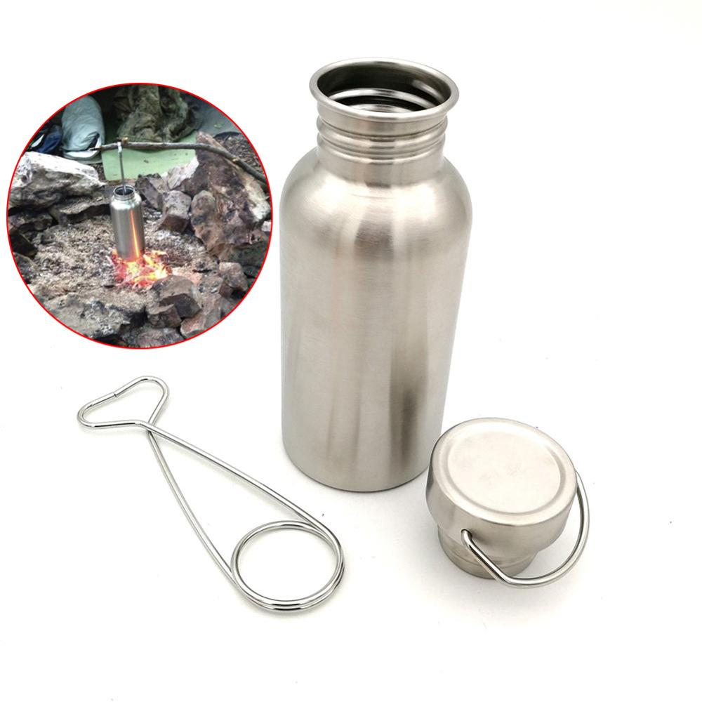 HobbyLane 350/500/750ML Portable Stainless Steel Water Bottle with Hook Outdoor Camping Hiking Water Kettle Drinking Tool