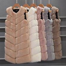 Пальто из искусственного меха, Зимний жилет из искусственного кроличьего меха, женский длинный тонкий жилет из искусственного меха, теплый меховой жилет без рукавов розового цвета для женщин