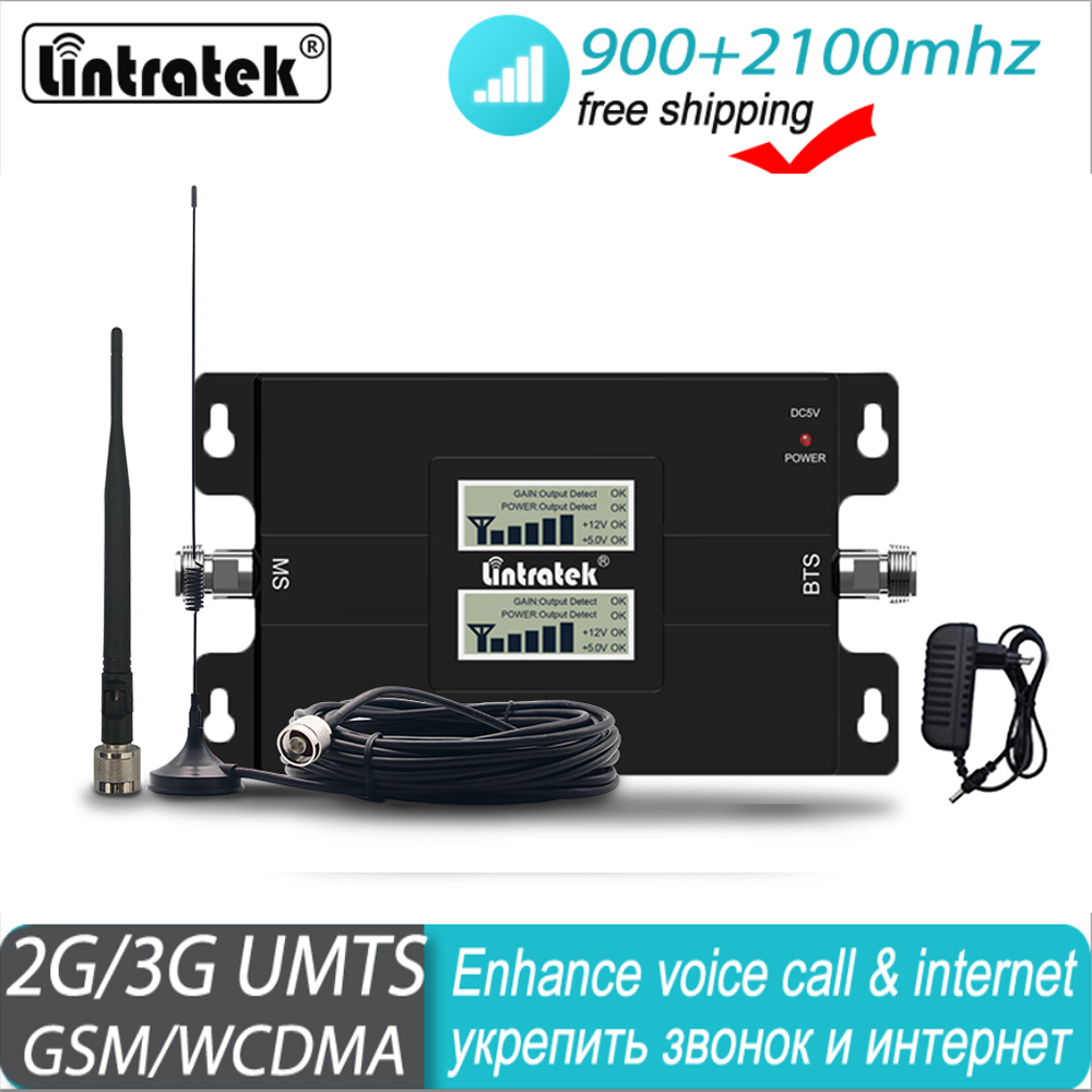 Lintratek 3g 2g 900 2100 LCD Double Band Mobile Signal Booster GSM 900mhz WCDMA UMTS 2100mhz Repeater Cellular Amplifier#40