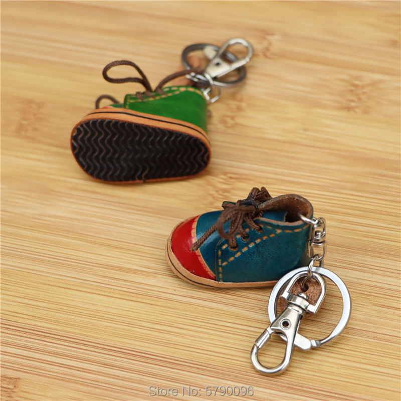 Leather handmade creative small shoes keychain bag pendant mini leather small leather shoes small shoes bag accessories