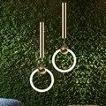 Ли метла кольцо золотой подвесной светильник s современный Led T6 круглый подвесной светильник для дома Лофт Декор Гостиная Светильник