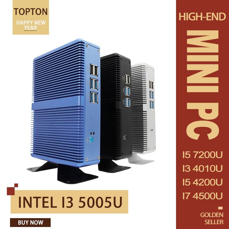 Topton Fanless Mini PC Intel I5 7200U 7100U Alumimun Alloy, Dustyproof Household Mini Computer HDMI, VGA, LAN, 6 USB, 300M WiFi