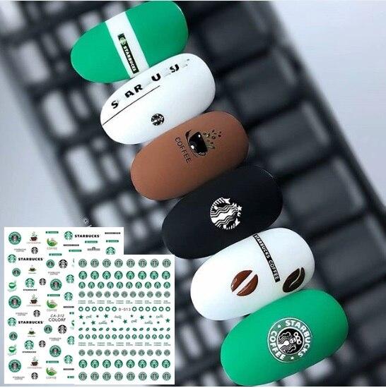 Ca seriesCA 312, diseños de café, taza de cristal, calcomanía de pegatinas 3d para decoración de uñas fresca, plantilla, herramienta para uñas, decoraciones diy