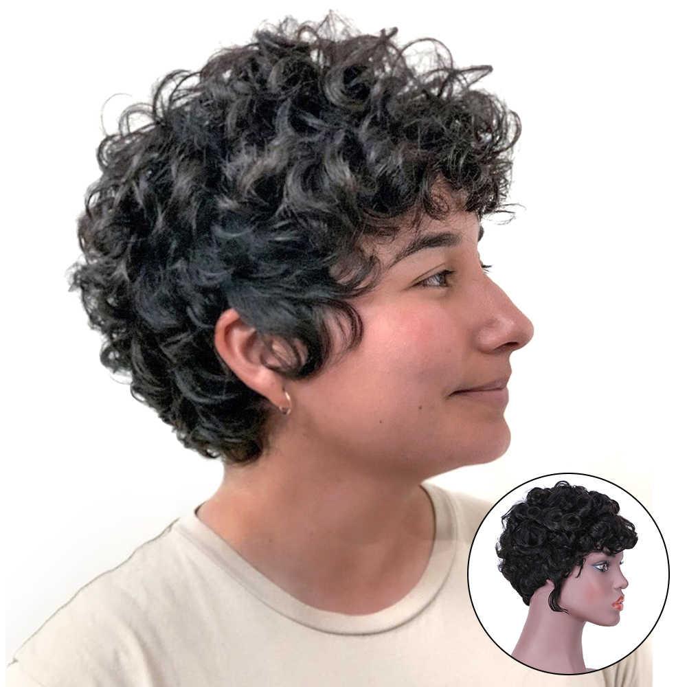 Peruca curta ondulada cabelo humano, perucas curtas para mulheres negras remy fantasia perucas de cabelo