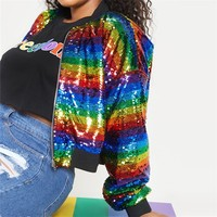 Autumn Plus Size Fashion Slim Rainbow Sequined Striped Long Sleeve 3XL 7XL Large Overweight Woman Casual Short Jacket Outwear