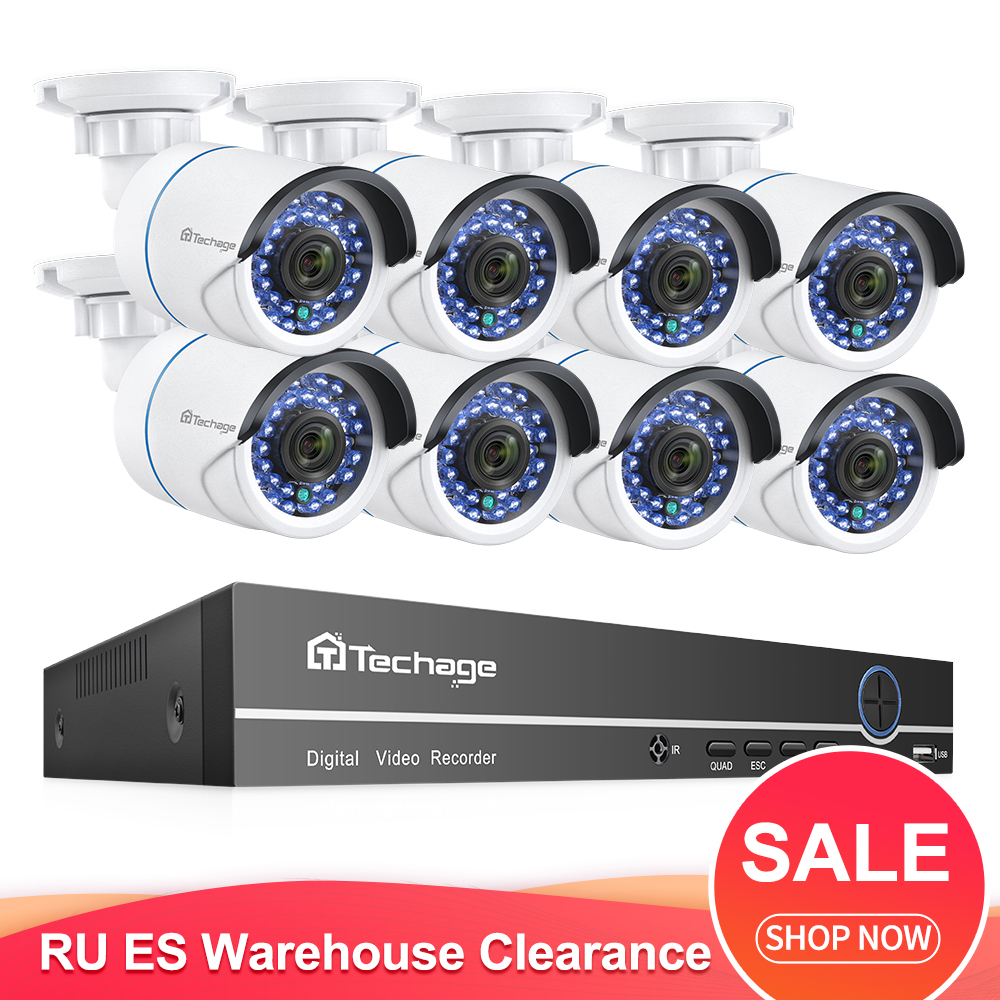 Techage H.265 8CH 1080P POE NVR System 8PCS Ip-kamera 2MP Audio Sound Rekord CCTV Video Überwachung Kit home Security Set