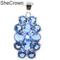 39x20mm Beautiful Rich Blue Violet Tanzanite CZ Woman's Gift Silver Pendant