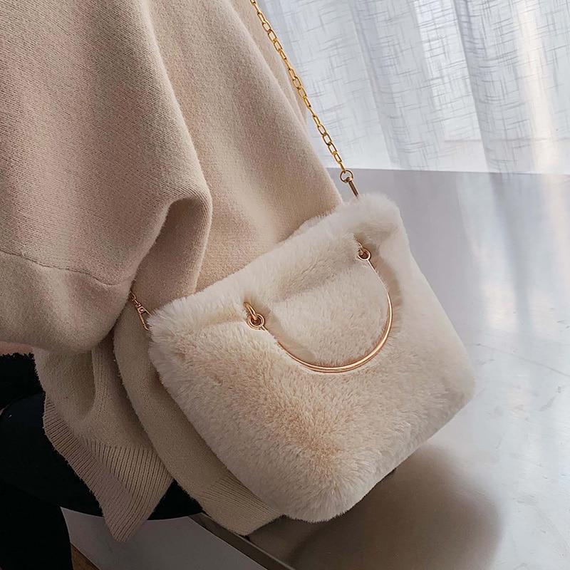 Fashion Soft Plush Chains Women Shoulder Bags Designer Metal Handbags Luxury Faux Fur Crossbody Large Capacity Totes Lady Purses